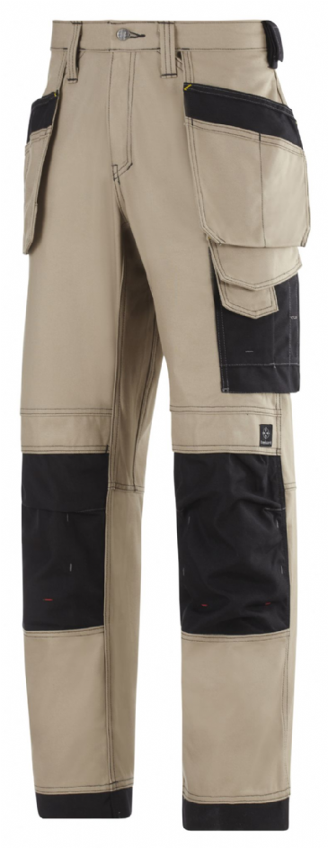Snickers 3214 Canvas+ Craftsmen Holster Pocket Trousers (Khaki/Black)